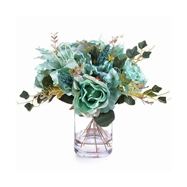 Enova Home Mixed Rose Lily and Hydrangea Silk Flower Arrangement in Clear Glass Vase with Faux Water for Home Wedding