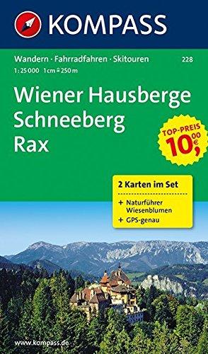 KOMPASS Wanderkarte Wiener Hausberge - Schneeberg - Rax: Wanderkarten-Set mit Naturführer in der Schutzhülle. GPS-genau. 1:25000: 2-delige Wandelkaart 1:25 000 (KOMPASS-Wanderkarten, Band 228)