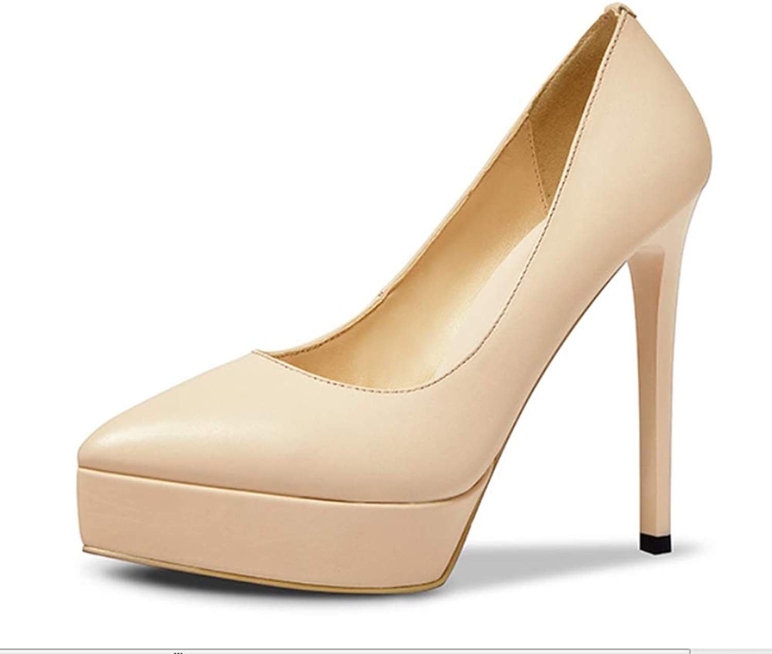 Shallow Mouth high Heel Women's shoes Stiletto Pointed high Heels Leather Waterproof Platform Women's shoes