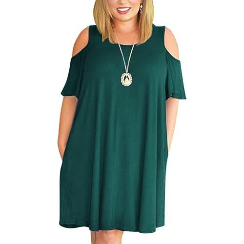 e130e534b7d Nemidor Women s Cold Shoulder Plus Size Casual T-Shirt Swing Dress with  Pockets