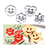 SEVENHOPE 4 Stück Edelstahl Ausstechform Plätzchenform Emoji Ausstecher Keksform Keksausstecher für Plätzchen Kekse Fondant