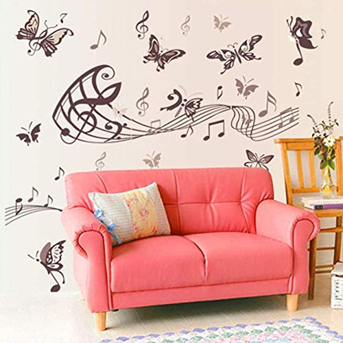 3D Brown Butterfly Music Notes Wall Sticker Vinyl Decals Room Wall Decor Home Decoration Kids Rooms Wallpaper Posters zeenca