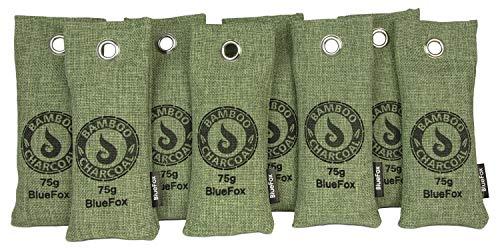 BlueFox Lufterfrischer aus Bambus Aktivkohle im 8er Set - 75g - Geruchsentferner - Luftreiniger - Entfeuchter - Für frische Schuhe - Fußgeruch entfernen - Schuh-Erfrischer - Deutsche Marke - Grün