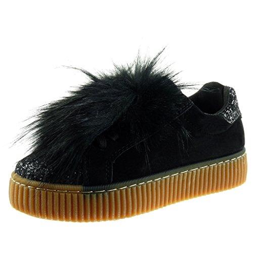 Angkorly - Chaussure Mode Baskets bi-matière Plateforme Femme Fourrure Strass Diamant Finition surpiqûres Coutures Talon Plat 3.5 CM - Noir - PQ-6 T 38