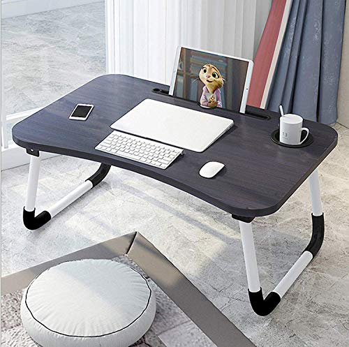Jsmhh Cama portátil bandeja, Escritorio portátil, gran stand portátil plegable, portátil Permanente turística, que sirve el desayuno bandeja de la cama, Lectura titular de la cama/sofá/un piso