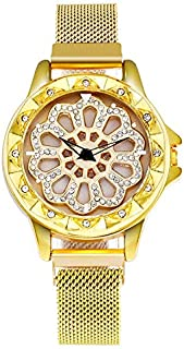 stylish women's watch with moving dial and diamond loaded case stylish mesh band magnet buckle