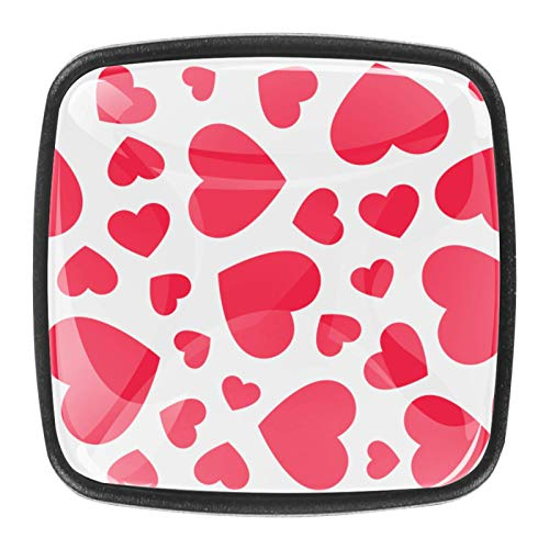 4 pomelli in cristallo per armadietti, maniglie per cassetti, ante con viti, cuori rosa