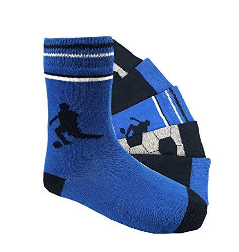 Kinder Socken handgekettelt 6 Paar aus besonders weicher Baumwolle bunter Mix Gr. 19-42 (Fussball, 35-38)