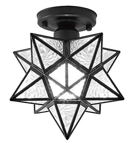 Luces de techo, lámpara colgante decorativa de vidrio de diamante geométrico, corredor de barra de barra de barra de barro. (Color : Ceiling light Black)