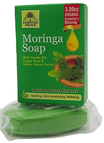 Organic Natural Vegetable base Moringa Soap with Jojoba Oil, Grape Seed Oil, Indian Vetiver Extract 3.8 oz