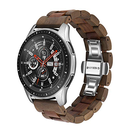 木製腕時計バンド 22mm Samsung Galaxy用 46mm 木製ステンレススチール腕時計バンド クイックリリースストラップ 交換用ブレスレット リストバンド Gear S3用 (ウォールナットとレッド22mm)