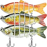 TRUSCEND Fishing Lures for Bass 3.9' Multi Jointed Swimbaits Slow Sinking Hard Lure Fishing Tackle Kits Lifelike (Combo B-2)