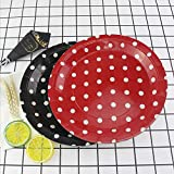 Pappteller, 22,9 cm, Rot / Schwarz gepunktet, Einweg-Partyteller für Geburtstag, Wiedervereinigung, Grillen, Picknicks
