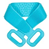 Extra Long 90cm/36inch Silicone Back Scrubber For Shower, Double Sided Bath Body Scrubber, Deep Clean Exfoliating Improve Back Acne, Easy to Clean, Comfortable Massage for Men & Women (Blue)