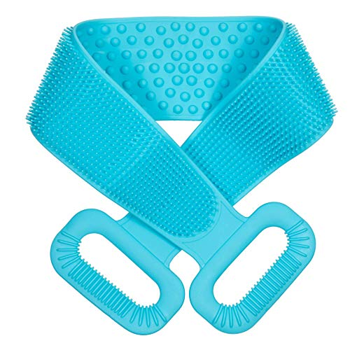 """Extra Long【 90cm/36""""】 Silicone Back Scrubber For Shower, Double Sided Bath Body Scrubber, Deep Clean & Exfoliating Improve Back Acne, Easy to Clean, Comfortable Massage for Men & Women (Blue)"""