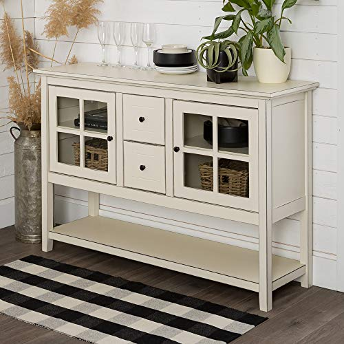Walker Edison Rustic Farmhouse Wood Buffet Storage Cabinet Living Room, 52 Inch, Antique White