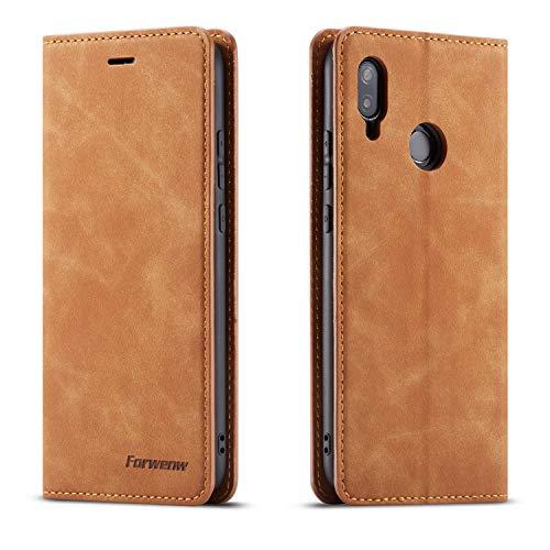 QLTYPRI Hülle für Huawei P20 Lite, Premium Dünne Ledertasche Handyhülle mit Kartenfach Ständer Flip Schutzhülle Kompatibel mit Huawei P20 Lite - Braun