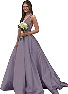 Jonlyc V Neck A Line Long Prom Evening Dresses Long Satin Open Back Formal Ball Gowns with Pockets