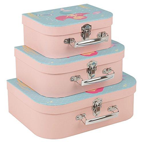 URBN Living - Set di valigie per bambini con motivo a sirena, 3 pezzi