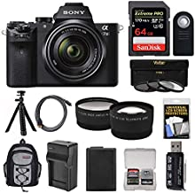 Sony Alpha A7 II Digital Camera & 28-70mm FE OSS Lens with 64GB Card + Backpack + Battery + Tripod + Tele/Wide Lens Kit