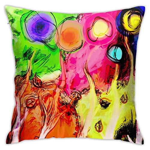 qinzuisp Kussen Kussensloop Cartoon Abstract Inkt Botanische Katoen Kussenslopen voor Woonkamer Slaapkamer Zachte Vierkante Decor Decoratief met Zachte Touch,18x18 Inch