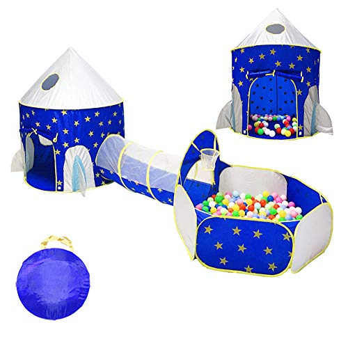 MROSW Children's Tunnel Tent Foldable Crawl Tunnels And Ball Pit with Basketball Hoop Playhouse Tent for Girls Boys for Outdoor And Indoor