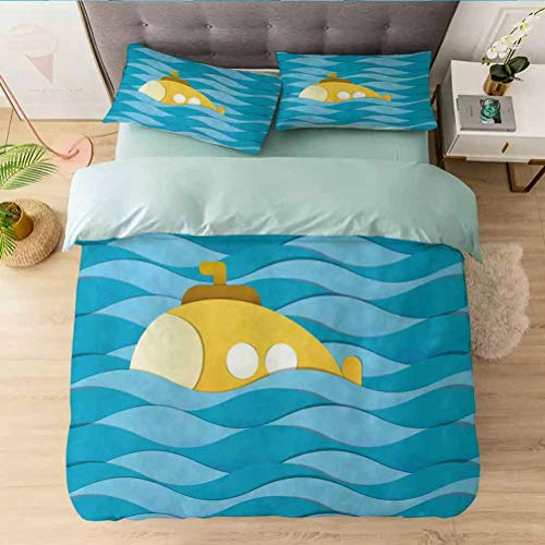 Aishare Store Print Duvet Cover Sets King, Illustration of a Submarine Over The Sea Paper Cutting St, Decorative 3 Piece Bedding Set with 2 Pillow Shams