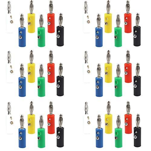 Lezed Conector Tipo Banana para Cable de Altavoz de Sonido Conectores Altavoces de Cable de Altavoz de Audio Chapado Banana Plug Jack Sondas de Prueba para Amplificador de Altavoz 4 mm 36 Piezas