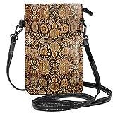 Antigua alfombra persa Malayer pequeña bolsa cruzada teléfono celular monedero titular de la tarjeta bolsa con correa ajustable para las mujeres