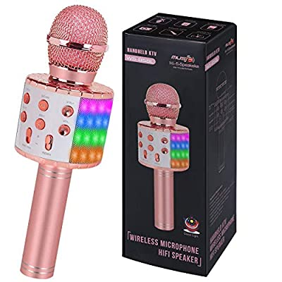 ZZLWAN Bluetooth Wireless Singing Karaoke Microphone for Kids Toys Age 5-12,Top Birthday Gifts for 6 7 8 9 10 Year Old Girl Teens,Popular Toddler Toys for 3 4 Yr Old Little Girls by ZZLWAN