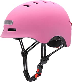BBABBT Casco de Bicicleta, Carga USB LED Casco Patinete con luz Trasera de Advertencia, Cascos Ciclismo, Casco, Cascos de ...
