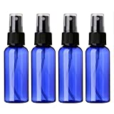 Sinide Travel Spray Bottles 50ML(1.7oz) - 4 Pack Blue Empty Plastic Portable Refillable Makeup Cosmetic Atomizer Bottle with Fine Mist Sprayer for Perfume, Cosmetic, Skincare, Aromatherapy