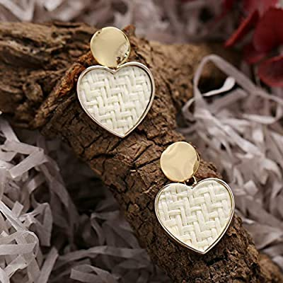 Xisheep Jewelry for Women Simple Metallic Gold Outer Ring Irregular Shape Love Acrylic Earrings Ladies Earrings for Home DIY (White)