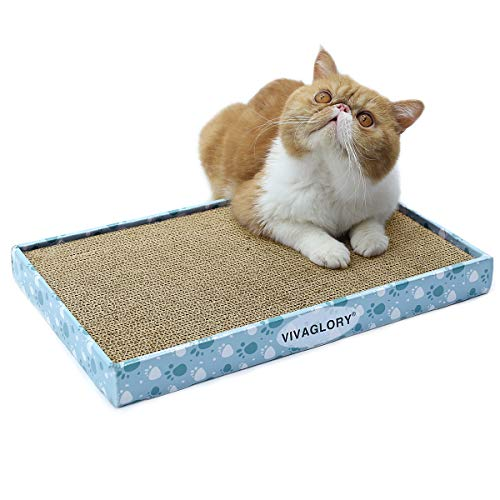 VIVAGLORY Kratzbrett Wellpappe Kratzmatte, Katzen Spielzeug Kratzliege Kratzmöbel mit Katzenminze, 1 Stück, Breit
