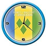 Typolitografie Ghisleri Wanduhr Saint Vincent & Grenadine mit Flagge, Durchmesser 28 cm