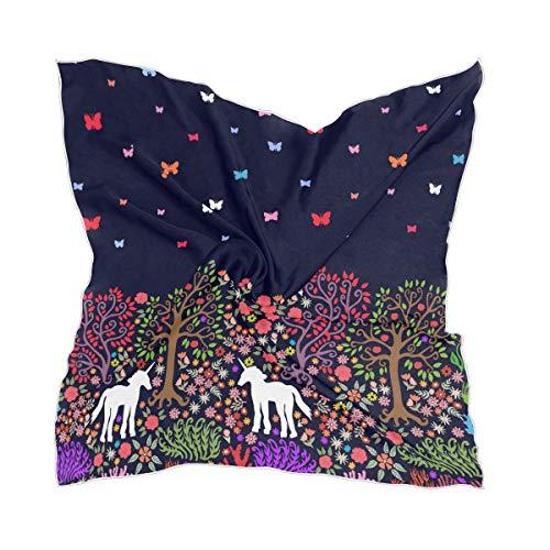 Dunne chiffon zakdoek hoofddeksel vrouwen cartoon bos eenhoorns vlinder zijde sjaal Sheer
