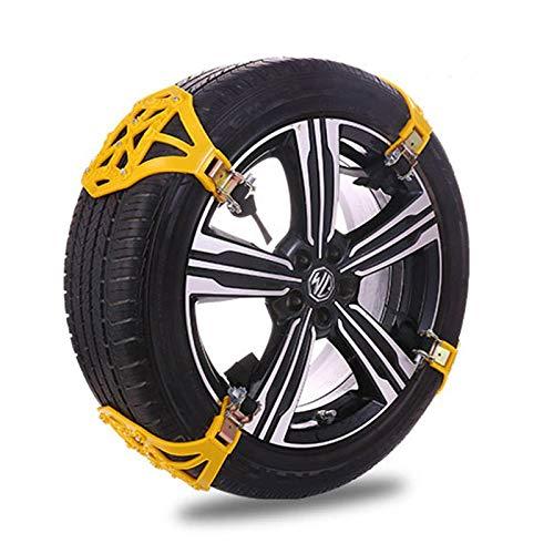 Cadenas de nieve para coche, 6 unidades, color amarillo, universales, antideslizantes, portátiles, fáciles de montar, cadenas para neumáticos, para neumáticos
