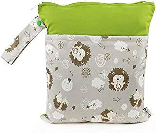 Hi Sprout Grab and Go Waterproof Washable Reusable Diaper Wet Dry Cloth Diaper Bags, Cute Hedgehog