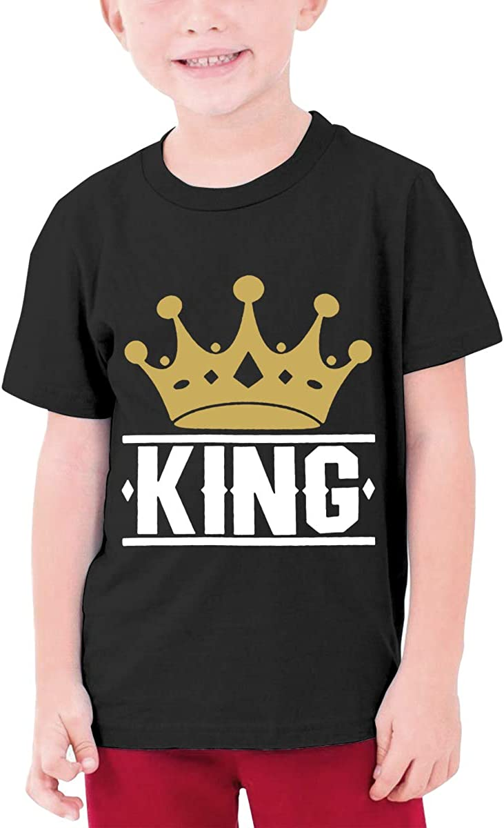 King with Crown Youth T-Shirt Short Sleeve Top Boys&Girls Tee