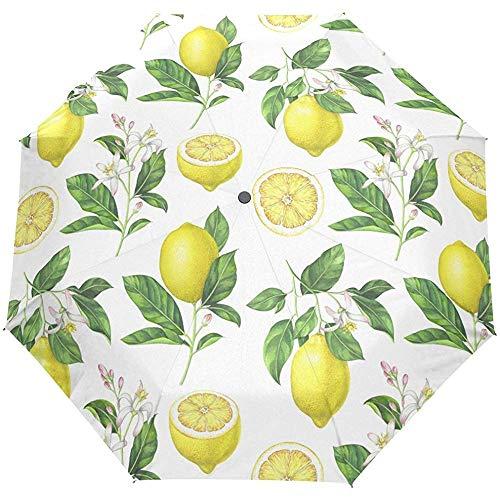 Cute Summer Floral Flowers Lemon Auto Open Close Paraguas Anti UV Plegable Compacto Automático Paraguas