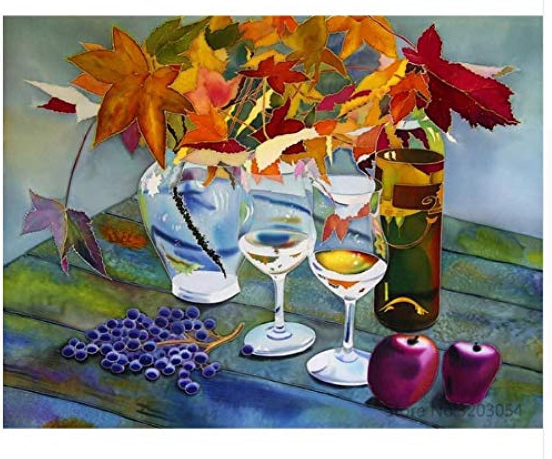 Agolong DIY Malen Nach Zahlen Wein Obst Acrylgemälde Moderne Bild Home Decor Für Wohnzimmer Mit Rahmen 40x50cm B07M5GZ352 | Ab dem neuesten Modell