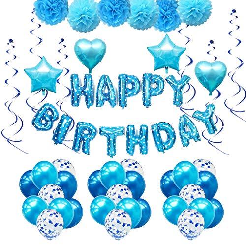 Amycute Geburtstag Party Dekoration, 51 stück Junge Blau Happy Birthday Girlande Pompoms Luftballons Spiralen Geburtstag deko Set Perfekte Geburtstagsfeier Liefert.