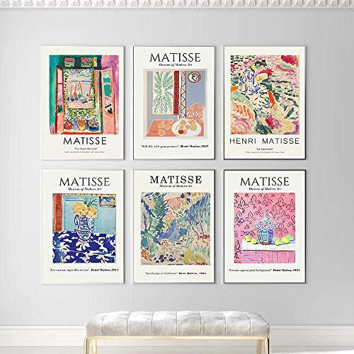 LYFCV Französisch Henri Matisse Leinwand Malerei Set Retro Poster Drucke Abstrakte Wandkunst Bilder für Wohnzimmer Wohnkultur 30X40cm 12x16 Zoll * 6pcs ohne Rahmen