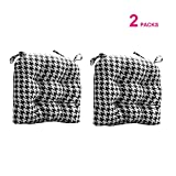 FBTS Prime Indoor Outdoor Chair Cushions (Set of 2) 16x17 Inch Patio Seat Cushions Black Houndstooth Square Chair Pads for Outdoor Patio Furniture Garden Home Office