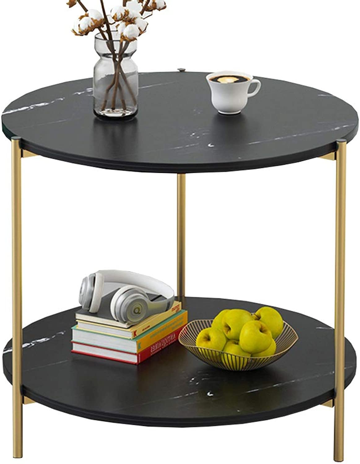 Chunlan Two-Layer Round Small Coffee Table, Metal Frame, Living Room Sofa Side Cabinet, 2 colors, 40  42cm (color   Black)