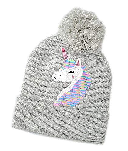 Sombrero Bobble para Niñas, Invierno para Niños Unicornio Flip Lentejuelas Gorro De Punto con Hilos Brillantes Pom-Pom