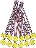 EUROXANTY Medalla de Estrellas Dorada   Medalla para Premios   Premios para Niños   Trofeo   Medalla para Aprendizaje   34 X 3.5 X 0.4 cm   Pack de 12 Medallas  