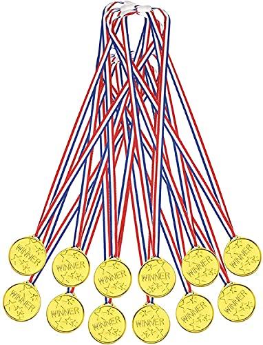EUROXANTY Medalla de Estrellas Dorada | Medalla para Premios | Premios para Niños | Trofeo | Medalla para Aprendizaje | 34 X 3.5 X 0.4 cm | Pack de 12 Medallas | 🔥