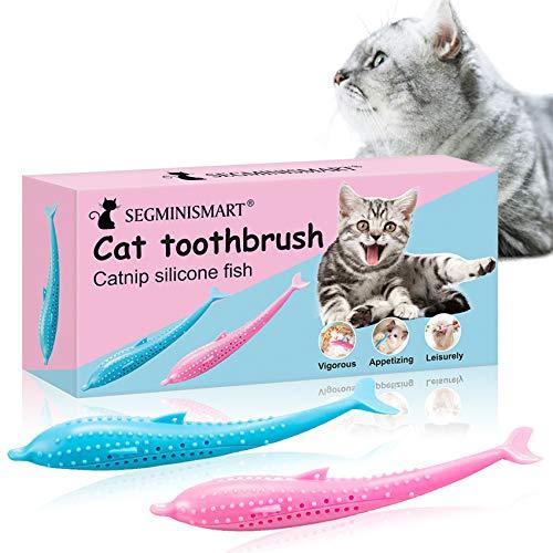 Gatto Spazzolino da Denti, Cat Toothbrush, Giocattolo Catnip, Spazzolino per Gatti, Giocattolo interattivo per Gatti, Pesce Giocattolo con Erba Gatta per la Pulizia dei Denti per Gatti, 2 pcs