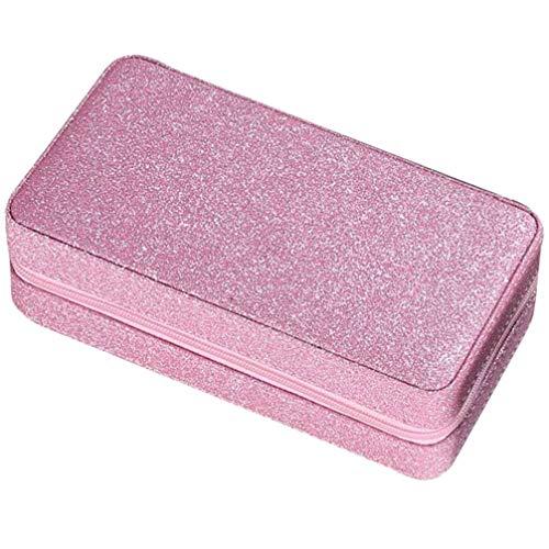 Cabilock Boîte à Bijoux en Cuir Pu Organiser avec Miroir Étui de Rangement de Bijoux Portable pour Colliers Bracelets Boucles D'oreilles Bagues (Rose)